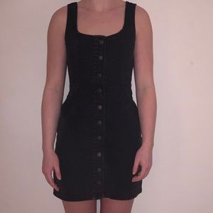 Urban outfitters black denim button up dress